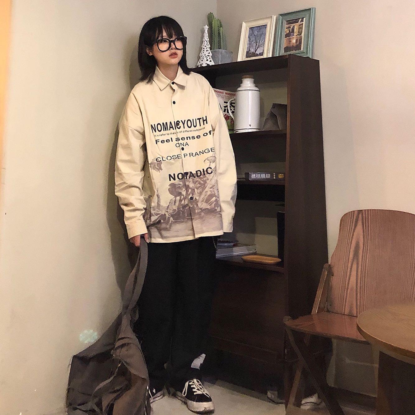 白衬衫 Take off咖喱人工装涂鸦衬衣宽松日系复古男女街头百搭白衬衫小众_推荐淘宝好看的女白衬衫