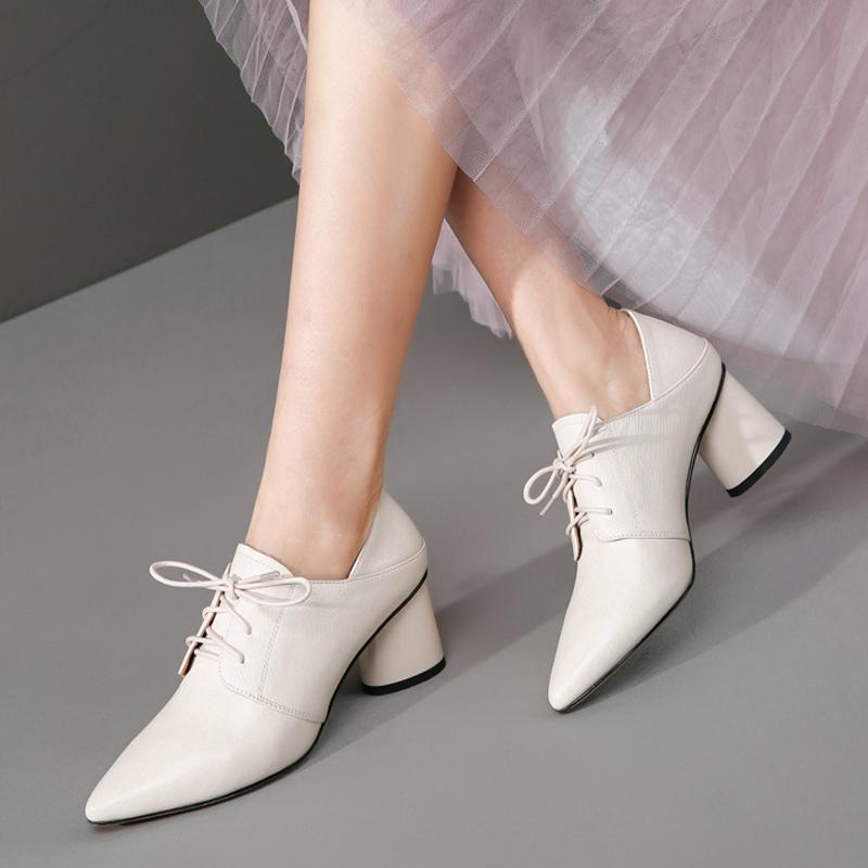 白色高跟单鞋 春秋季尖头白色皮鞋女真皮高跟粗跟休闲深口系带软皮单鞋女鞋小码_推荐淘宝好看的女白色高跟单鞋