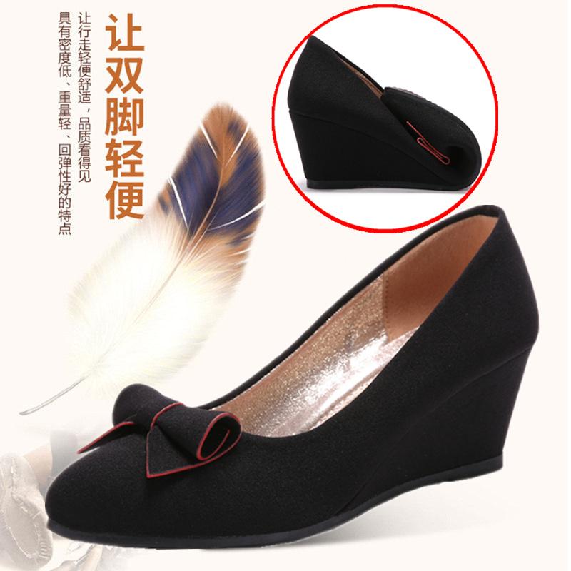 坡跟鱼嘴鞋 老北京布鞋女鞋春秋新款时尚坡跟鞋软底通勤工装鞋防滑透气女单鞋_推荐淘宝好看的女坡跟