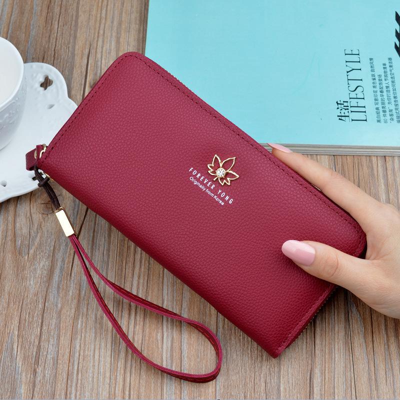 红色手拿包 钱包女长款2019新款简约拉链手拿钱包多功能大容量多卡位手机包_推荐淘宝好看的红色手拿包