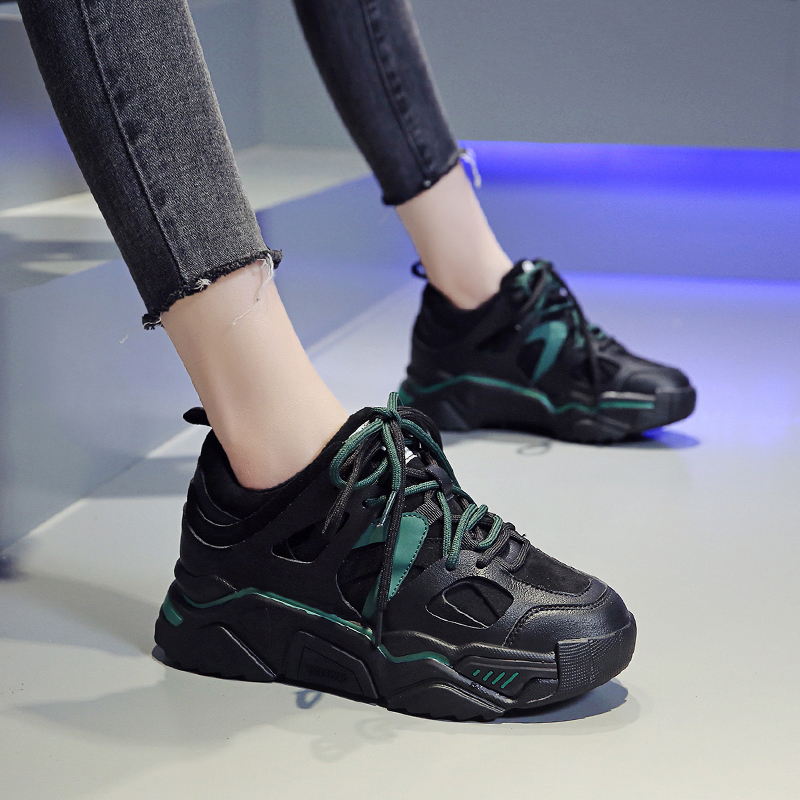 绿色运动鞋 软底运动鞋女2020秋冬季薄底绿色老爹鞋女ins显脚小舒适轻便百搭_推荐淘宝好看的绿色运动鞋