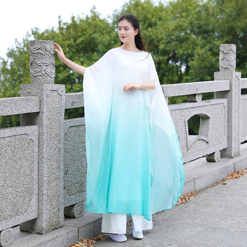 白色连衣裙 白色禅舞服装女套装中国风仙女飘逸连衣裙宽松禅意长袍古琴茶禅服_推荐淘宝好看的白色连衣裙