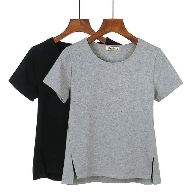 纯棉白t恤 2020夏季新款韩版圆领短袖前短后长纯棉中袖T恤女宽松短款打底衫_推荐淘宝好看的女纯棉白t恤