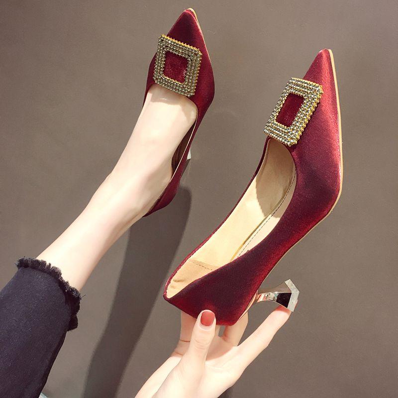 女高跟鞋 高跟鞋女2020年新款春款细跟春秋网红水钻尖头单鞋春红色新娘婚鞋_推荐淘宝好看的女高跟鞋