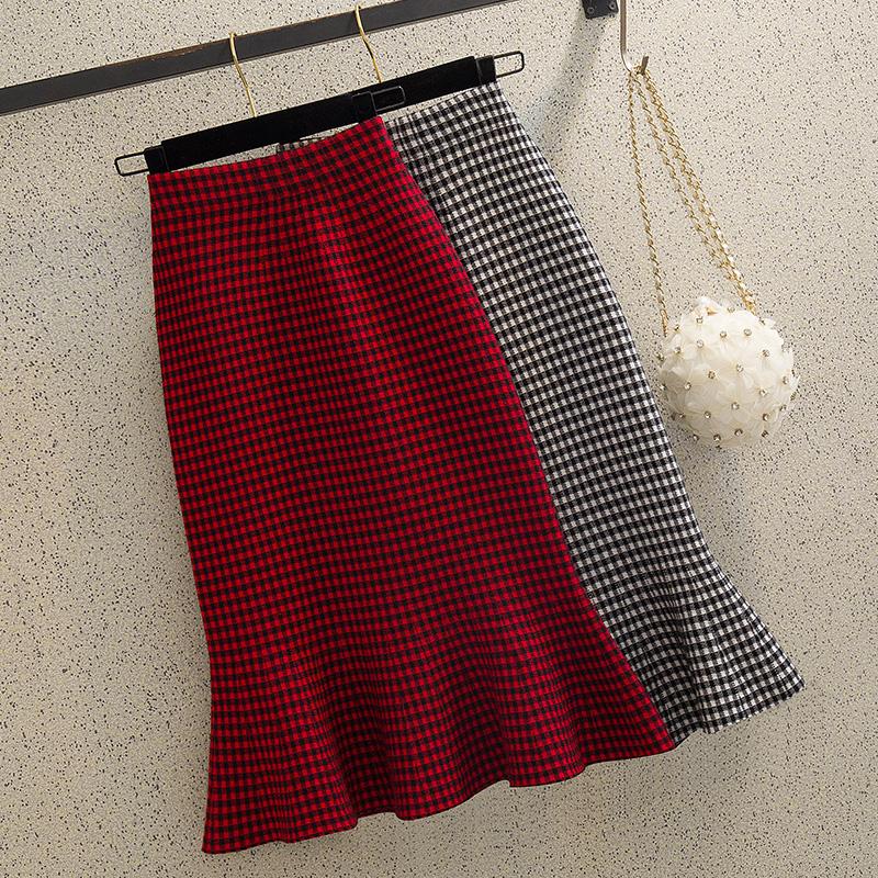 红色半身裙 针织鱼尾裙半身裙秋冬女高腰中长款气质显瘦格子a字荷叶边包臀裙_推荐淘宝好看的红色半身裙