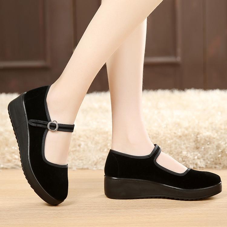 黑色坡跟鞋 厚底老北京布鞋女工作鞋女鞋黑色平跟坡跟舞蹈鞋高跟鞋单鞋酒店鞋_推荐淘宝好看的黑色坡跟鞋