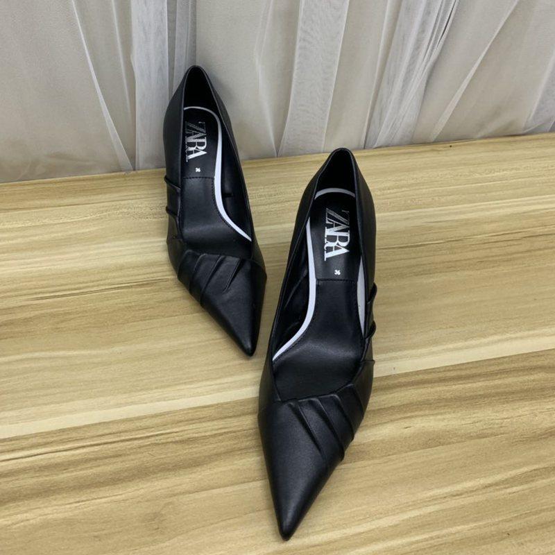气质小单鞋 外贸原单出口欧洲时尚细跟尖头黑色高跟鞋气质浅口女鞋单鞋_推荐淘宝好看的女气质单鞋