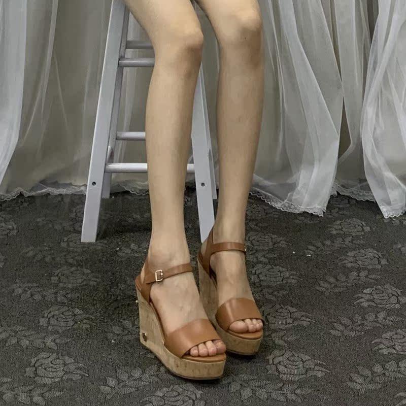 罗马坡跟鞋 外贸夏季凉鞋女原单女鞋出口美国罗马平底坡跟百搭防水增高_推荐淘宝好看的罗马坡跟鞋