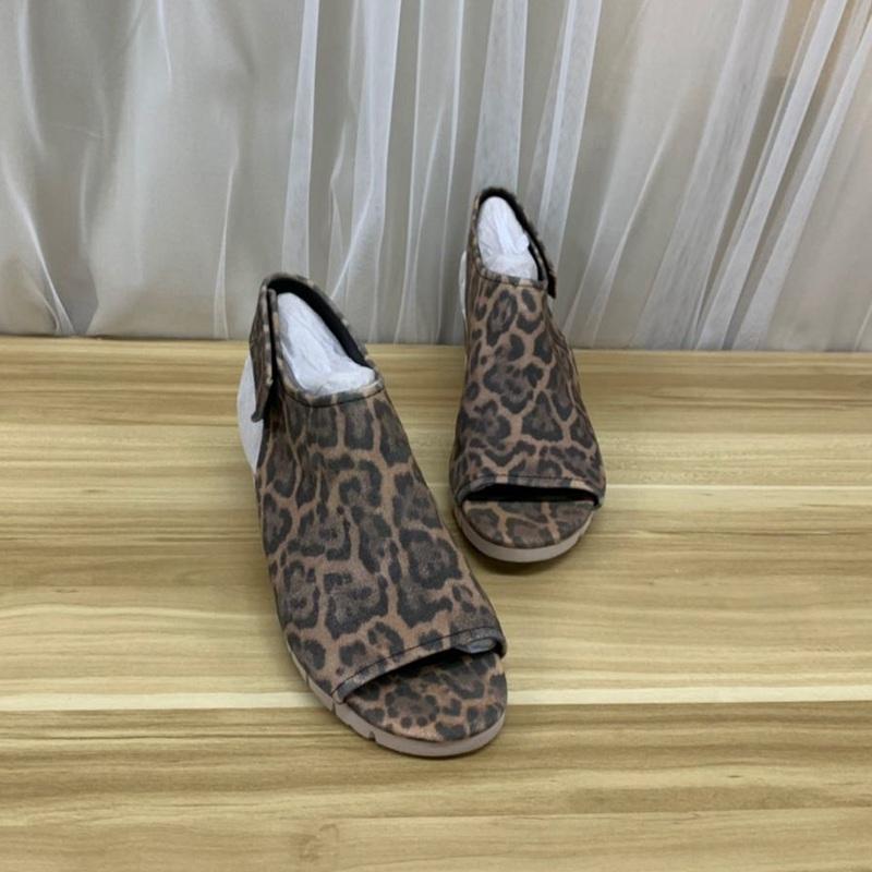 豹纹坡跟鞋 外贸原单女鞋坡跟里外真皮豹纹舒适鱼嘴凉鞋_推荐淘宝好看的豹纹坡跟鞋