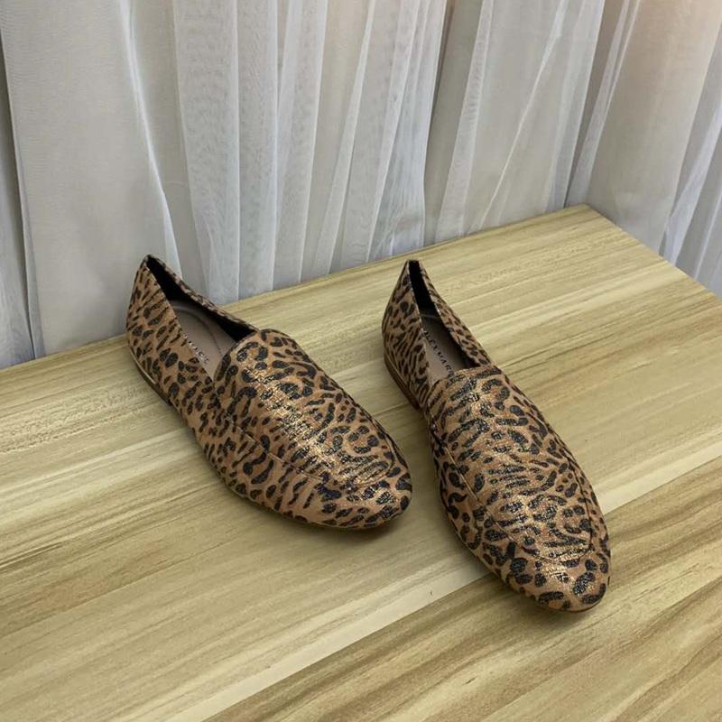 豹纹单鞋 外贸原单女鞋圆头低跟舒适百搭套脚深口豹纹一脚蹬单鞋_推荐淘宝好看的豹纹单鞋
