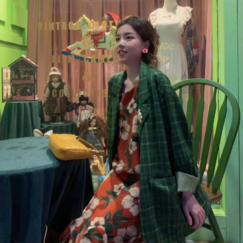 绿色小西装 绿色格子西装外套女秋装韩版宽松网红炸街复古气质休闲小西服上衣_推荐淘宝好看的绿色小西装