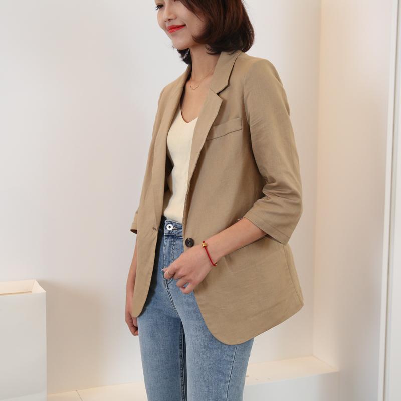 小西装 棉麻小西装外套2021新款亚麻西装外套女夏季薄款七分袖西装外套_推荐淘宝好看的女小西装