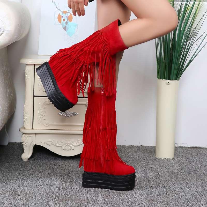 厚底流苏靴 性感红色厚底高跟鞋13cm12公分超高跟坡跟内增高流苏韩版女鞋女靴_推荐淘宝好看的厚底流苏靴
