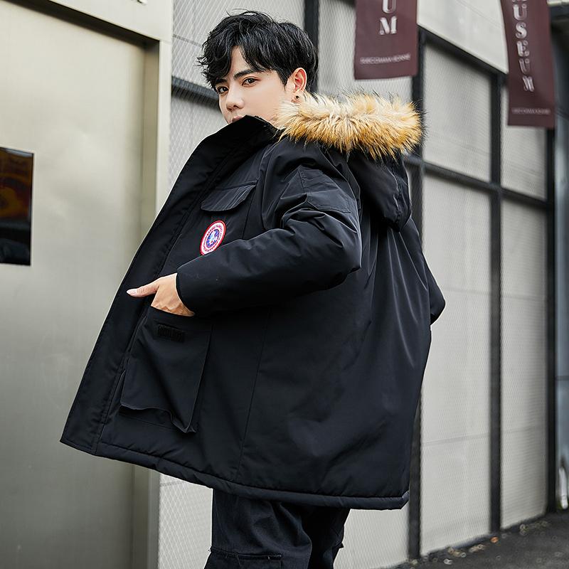 黑色外套 2019新款男士羽绒棉服中长款明星爆款帅气工装冬季外套潮牌情侣_推荐淘宝好看的黑色外套