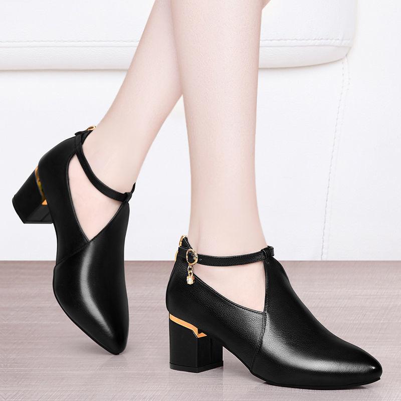 高跟鞋 D8粗跟中跟单鞋女2021新款百搭高跟真软皮皮鞋软底大码女鞋妈妈鞋_推荐淘宝好看的女高跟鞋
