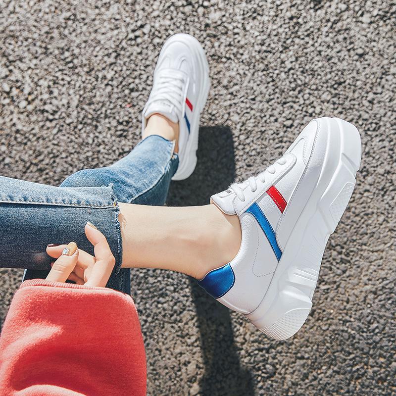 厚底鞋 17小白鞋潮鞋女2020春季新款百搭厚底运动白色休闲鞋女学生老爹鞋_推荐淘宝好看的女厚底鞋