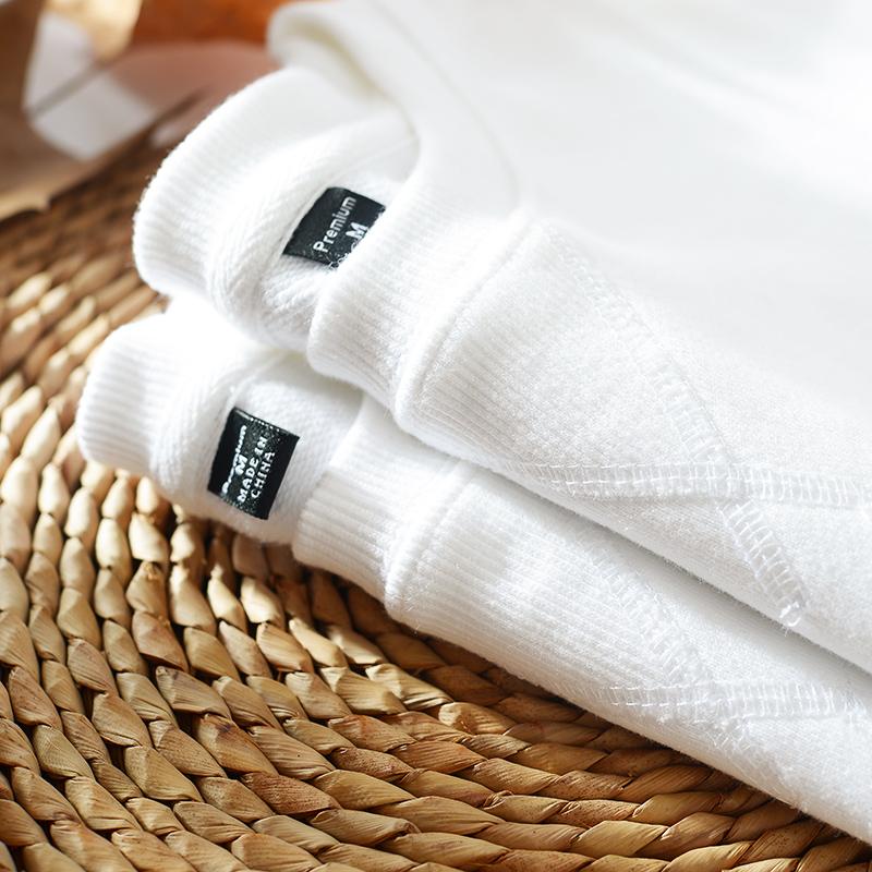 白色卫衣 卫衣女韩版纯棉无帽圆领纯白色宽松2021新款不带帽秋冬上衣潮ins_推荐淘宝好看的白色卫衣