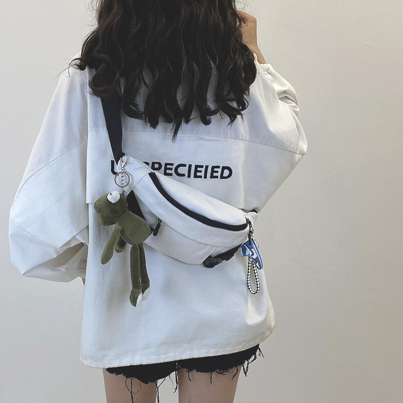 帆布包包 今年流行小包包女2020新款网红胸包斜挎包百搭ins学生帆布腰包潮_推荐淘宝好看的女帆布包包