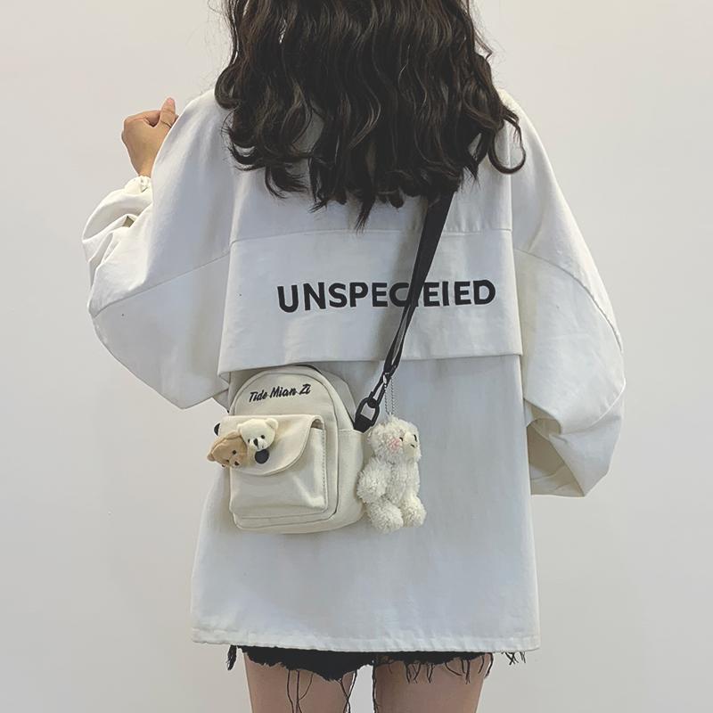 学生帆布包 可爱小包包女2020新款网红帆布少女日系原宿学生百搭ins斜挎包女_推荐淘宝好看的女学生帆布包