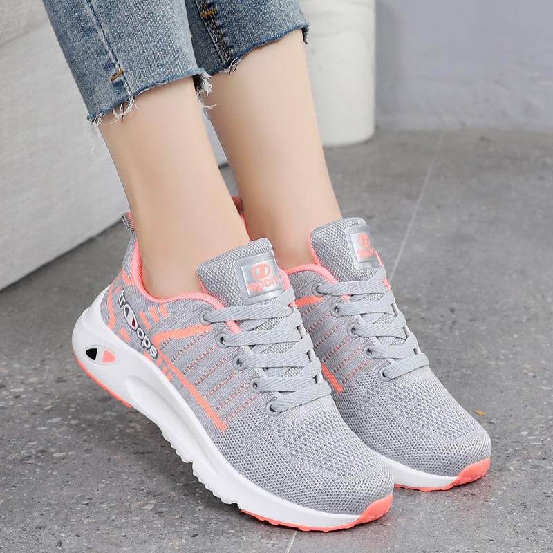 运动鞋 2021春夏季新款粉色网鞋女鞋运动鞋网面透气轻便跑步鞋休闲鞋灰色_推荐淘宝好看的女运动鞋