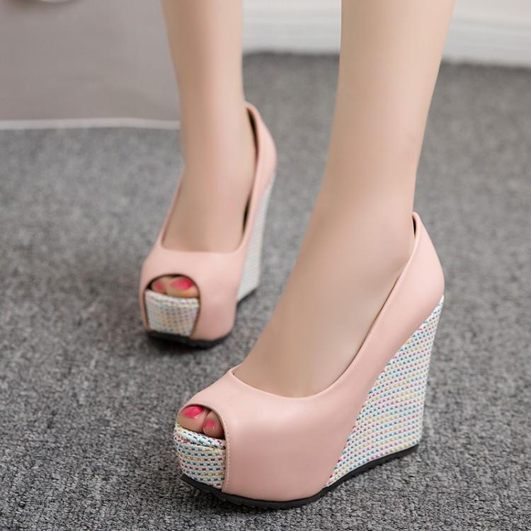 粉红色坡跟鞋 白色粉红色女鞋婚鞋鱼嘴鞋高跟坡跟大码凉鞋小码 33 40 41 42 XYJ_推荐淘宝好看的粉红色坡跟鞋