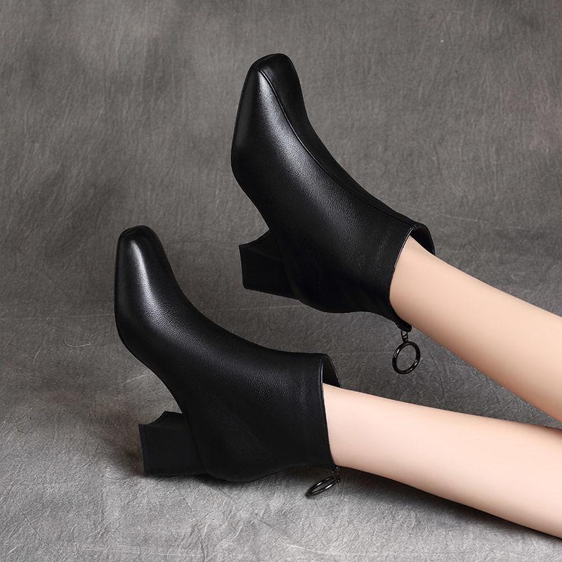 高跟鞋 A4紅晴綎真软皮加绒短靴女粗跟高跟鞋2020冬季新款女靴加棉马丁_推荐淘宝好看的女高跟鞋
