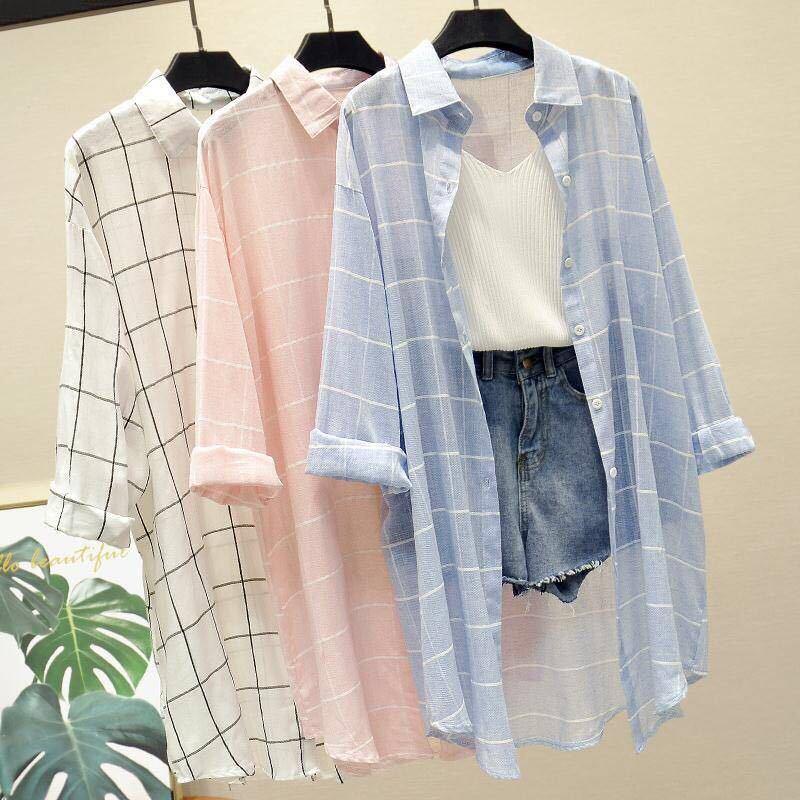 女士长款衬衫 k1格子衬衫女春季2020韩版宽松披肩百搭显瘦中长款衣女夏季外套_推荐淘宝好看的女长款衬衫