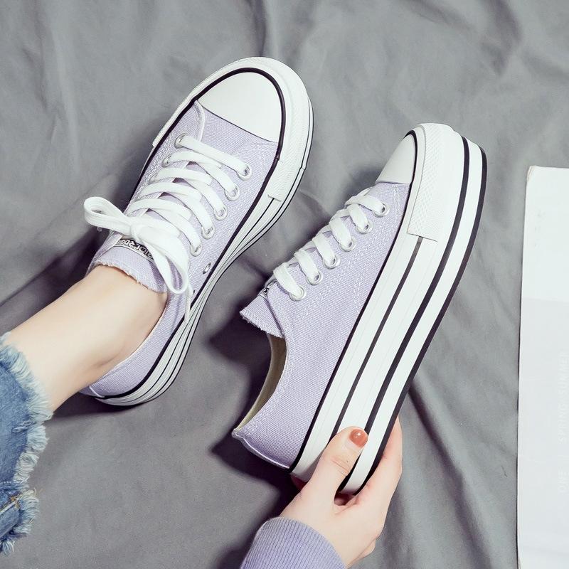 紫色松糕鞋 名仕匡威新款厚底香芋紫色松糕跟帆布鞋女百搭增高板鞋ulzzang潮_推荐淘宝好看的紫色松糕鞋