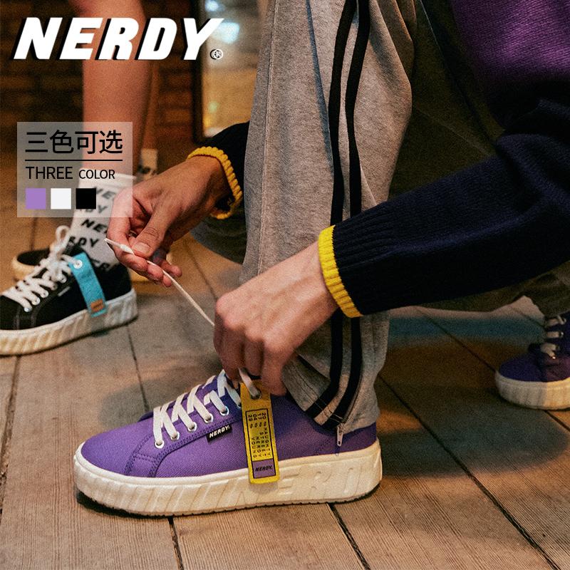 紫色运动鞋 NERDY紫色低帮休闲帆布鞋2020新款韩潮ins时尚男女同款板鞋运动鞋_推荐淘宝好看的紫色运动鞋
