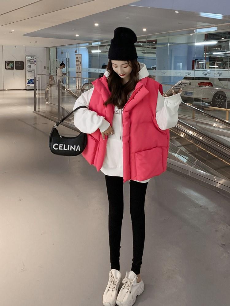 粉红色马甲 马甲女2021年秋冬季新款短款粉红色外搭立领羽绒棉衣马夹外套上衣_推荐淘宝好看的粉红色马甲