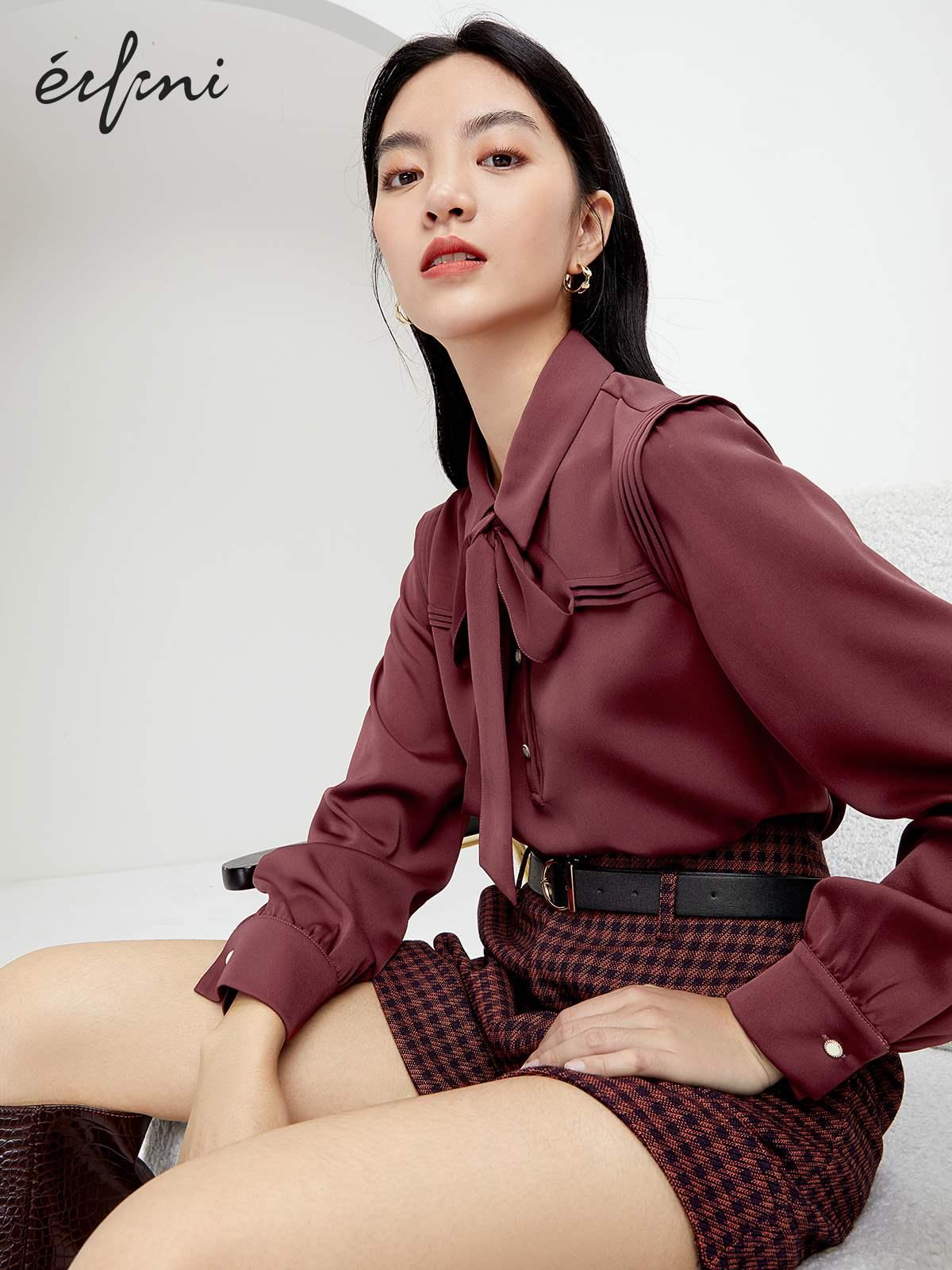 伊芙丽雪纺衫 伊芙丽女人味上衣2020年新款复古飘带领内搭衬衫宽松长袖雪纺衫女_推荐淘宝好看的伊芙丽雪纺衫