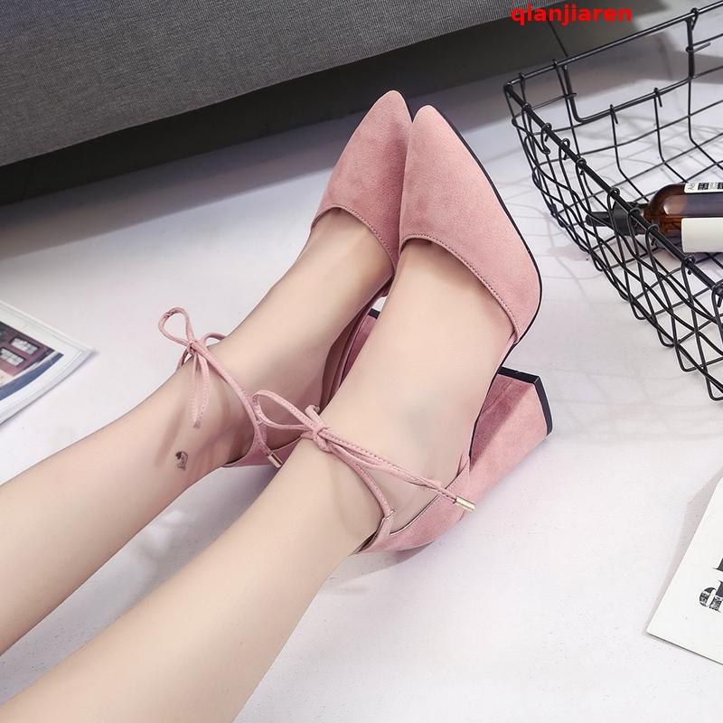 粉红色凉鞋 粗跟凉鞋女夏季中跟包头高跟鞋粉红色尖头交叉绑带一字式中空单鞋_推荐淘宝好看的粉红色凉鞋