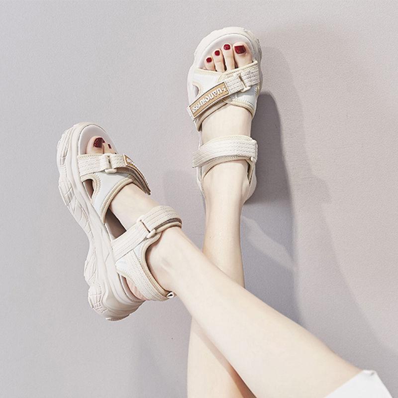 松糕鞋 2021夏新款网红ins老爹运动凉鞋女学生 韩版厚底魔术贴松糕鞋C_推荐淘宝好看的女松糕鞋