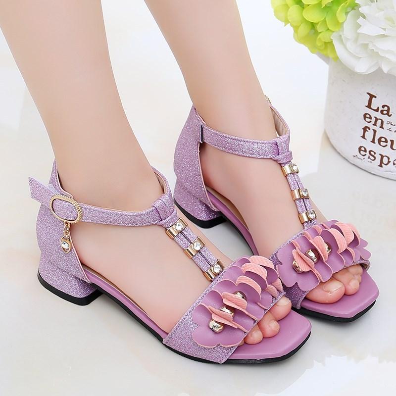 紫色罗马鞋 2021夏季新款6公主7女童鞋8中童9凉鞋10罗马紫色11女孩12岁小学生_推荐淘宝好看的紫色罗马鞋