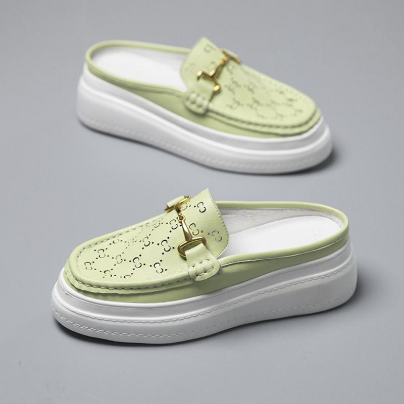 绿色松糕鞋 小香风包头厚底马衔扣拖鞋女活力夏季新款绿色名媛淑女松糕鞋凉拖_推荐淘宝好看的绿色松糕鞋