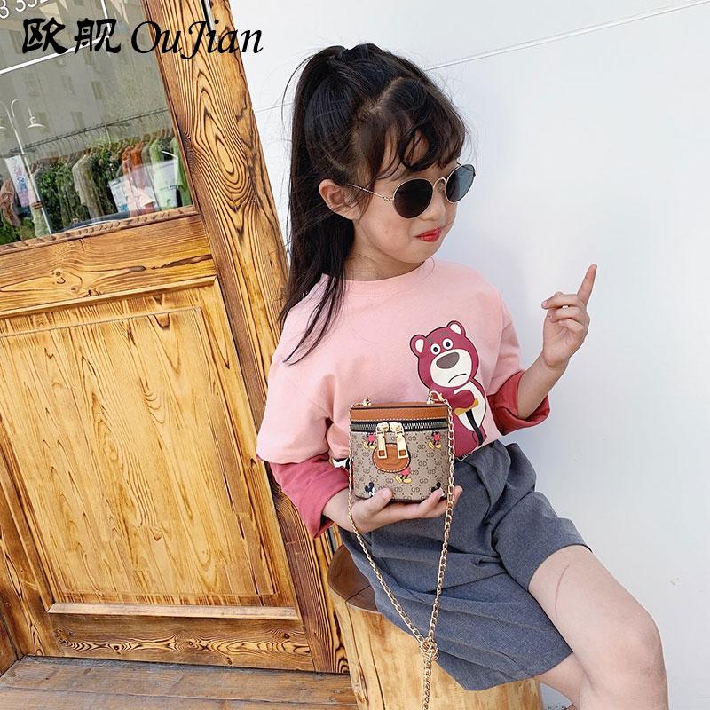 彭丽媛手提包 时尚宝宝儿童小款水桶包网红小包包女童洋气斜挎包卡通印花手提包_推荐淘宝好看的女手提包
