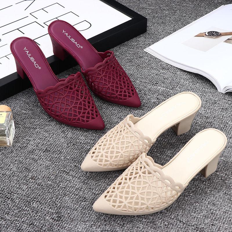 韩版坡跟鞋 夏季新款韩版凉鞋女高跟包头坡跟镂空塑料尖头粗跟透气女凉拖鞋_推荐淘宝好看的韩版坡跟鞋