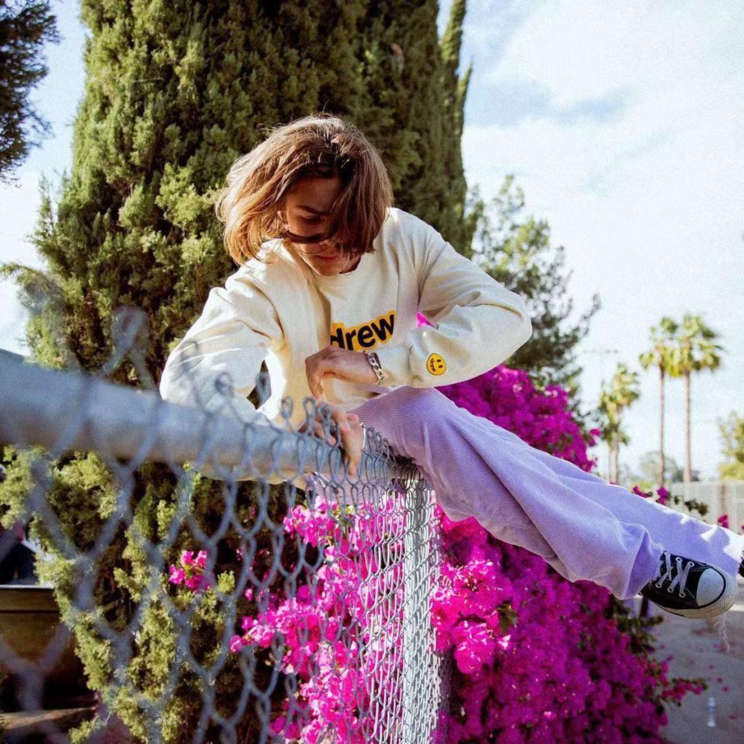 宽松男装t恤长袖 Justin Bieber同款 drew长袖T恤男女休闲街头宽松宽松打底衫FOG_推荐淘宝好看的宽松男t恤长袖