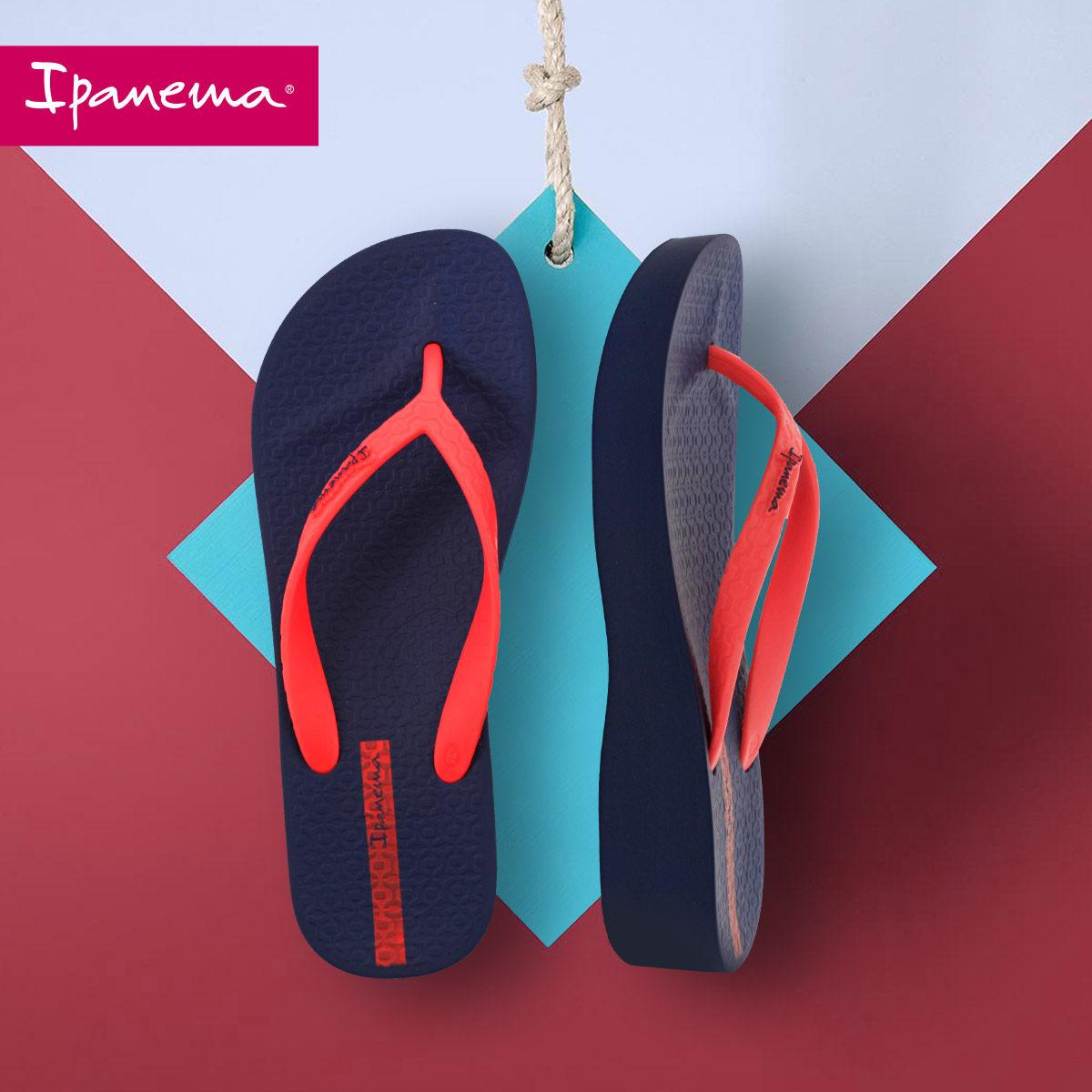 坡跟鞋 Ipanema拖鞋女外穿夏季坡跟拖鞋时尚人字拖网红女鞋粗跟沙滩拖鞋_推荐淘宝好看的女坡跟鞋