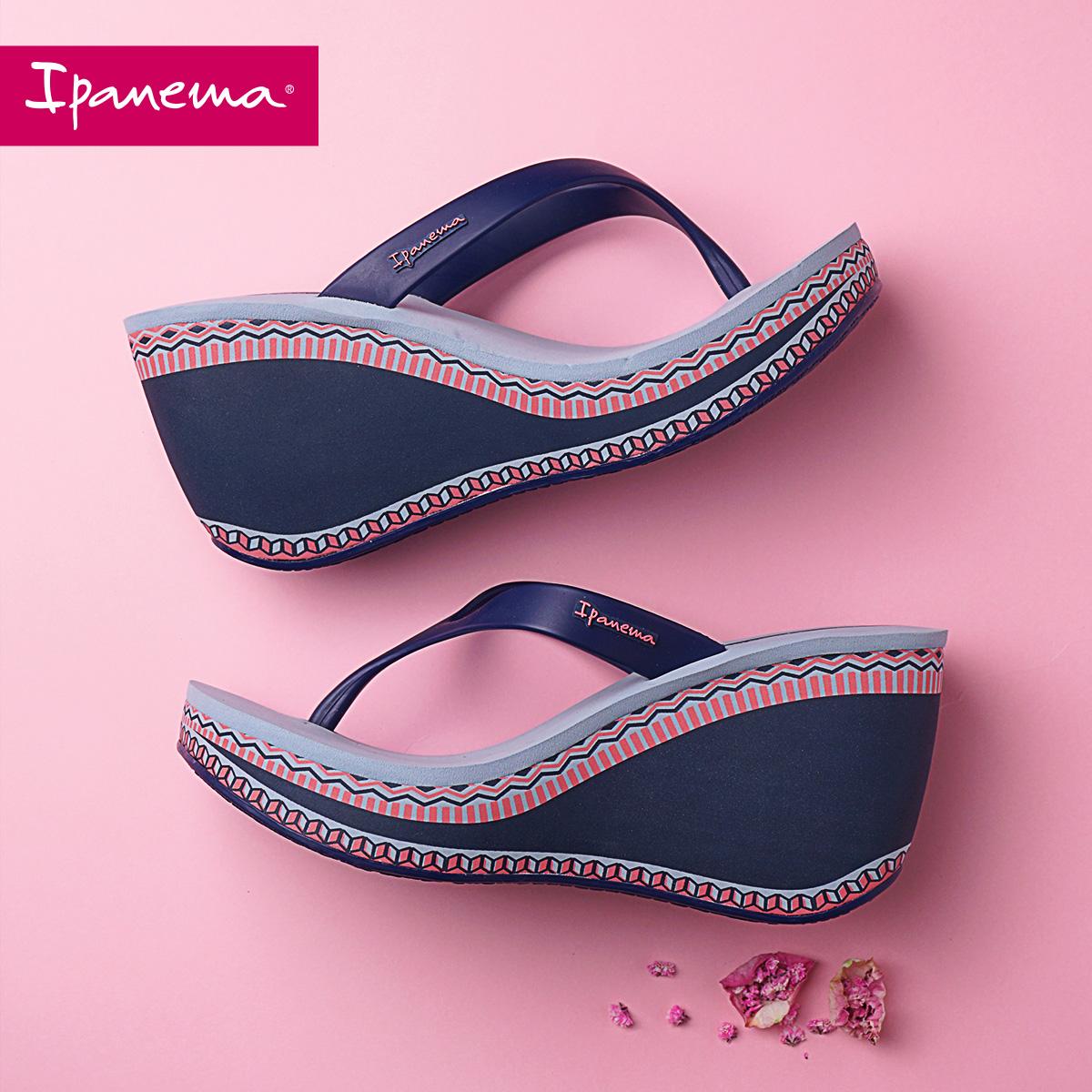 坡跟鞋 Ipanema拖鞋女外穿夏季时尚ins潮坡跟凉拖鞋高跟厚底夹趾人字拖_推荐淘宝好看的女坡跟鞋