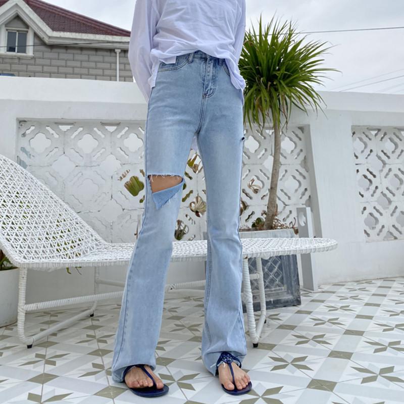 高腰牛仔裤 petty Elsa175高个子加长微喇叭裤女显瘦2021春款高腰拖地牛仔裤_推荐淘宝好看的女高腰牛仔裤