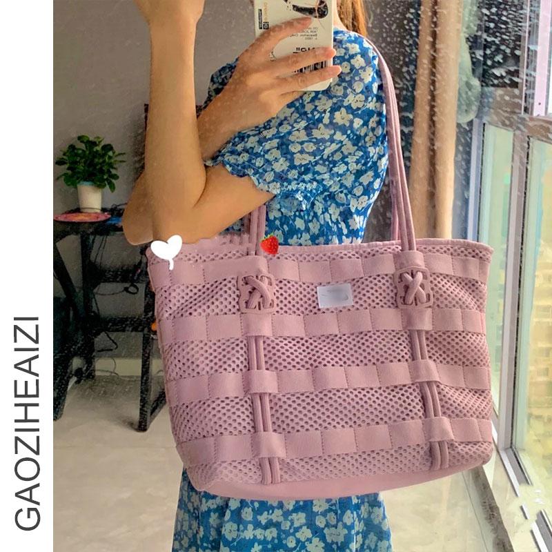 紫色帆布包 小红书NK新款编织NB托特包帆布购物袋大容量粉紫色手拎空军一号包_推荐淘宝好看的紫色帆布包