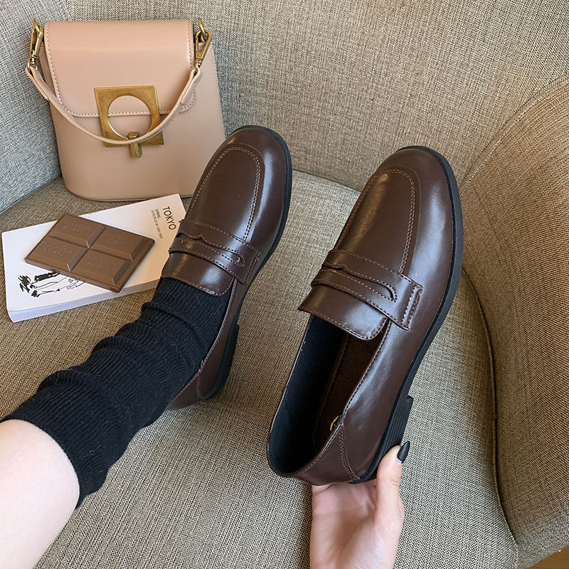 粗跟高跟鞋 2020秋季新款小皮鞋粗跟女鞋复古黑色软皮高跟单鞋英伦风乐福鞋_推荐淘宝好看的女粗跟高跟鞋
