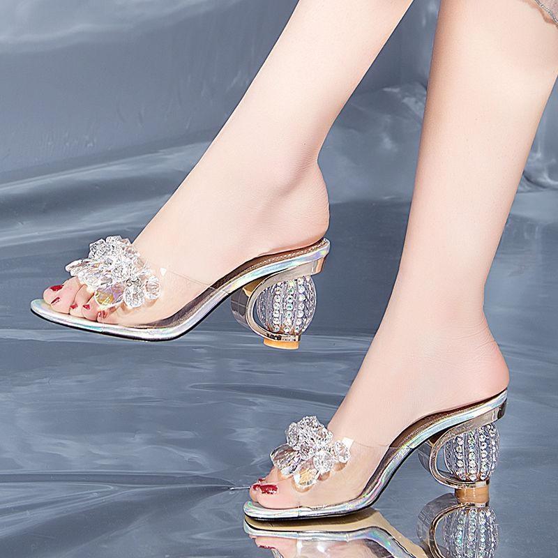 非主流高跟鞋 拖鞋女夏凉拖外穿2019新款时尚韩版高跟鞋粗跟一字带水钻半拖女。_推荐淘宝好看的女时尚 高跟鞋