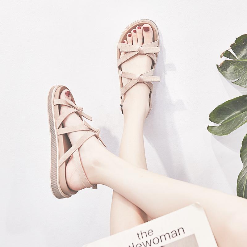 女士罗马鞋 凉鞋女2020年夏新款百搭学生ins网红仙女风外穿平底chic罗马鞋潮_推荐淘宝好看的女罗马鞋