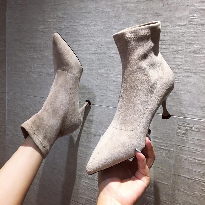 短靴 尖头高跟短靴女细跟春秋单靴子女2019新款网红瘦瘦靴时装靴袜子靴_推荐淘宝好看的女短靴