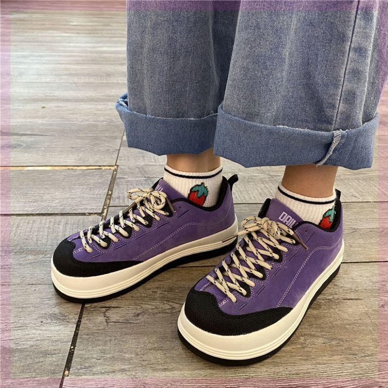 紫色松糕鞋 包鞋松糕秋日复古港风鞋紫色百搭秋季平底运动女鞋系带头面春秋女_推荐淘宝好看的紫色松糕鞋