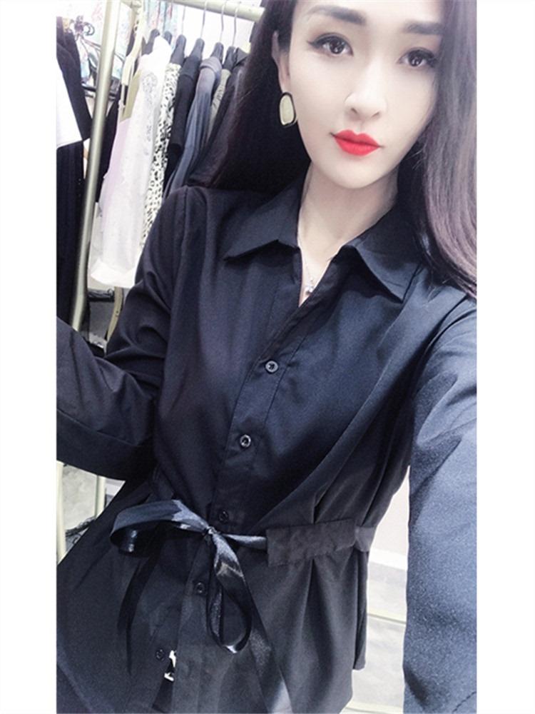 黑色雪纺衬衫 欧洲站秋装新款宽J松显瘦黑色衬衫女长袖洋气遮肚雪纺小衫收腰上_推荐淘宝好看的女黑色雪纺衬衫