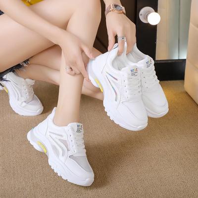 女士厚底鞋 2020新款小白鞋子女透气夏季内增高百搭休闲网面旅游运动网鞋厚底_推荐淘宝好看的女厚底鞋