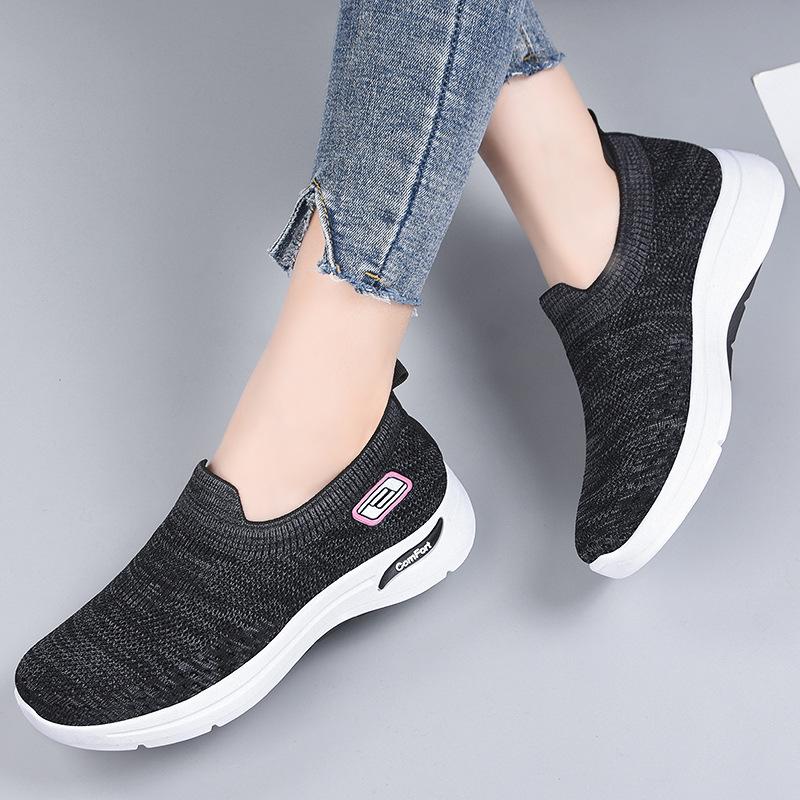 粉红色运动鞋 休闲女夏季粉红网面鞋透气运动鞋黑色中学生系带紫色妈妈轻便百搭_推荐淘宝好看的粉红色运动鞋